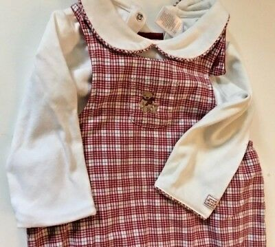 JANIE AND JACK Christmas Plaid Bear Lined Overalls Shirt Size 12-18 Months