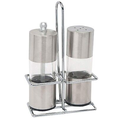 Salt and Pepper Grinder Set Stainless Steel Stand Salt and Pepper Shakers Mill
