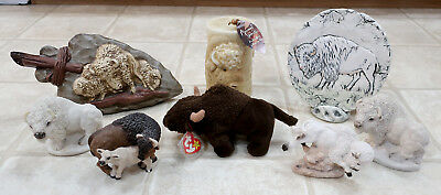 White Buffalo Bison Figurine Lot Collection -  Stone Critters Statues & more