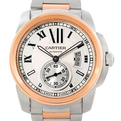 Cartier Calibre Steel 18K Rose Gold Mens Watch W7100036 Box Papers
