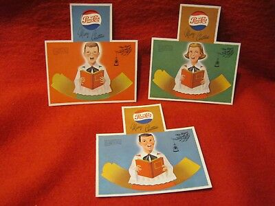 Set of 3 Vintage Pepsi Cola Paper Christmas Choir Ornaments Promotion NOS!!