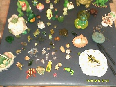 Large Collection Of Frog Figures Bobblehead Toothbrush Holder More