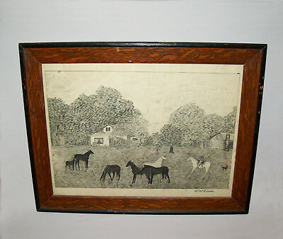 Old Antique 19th C 1890s Folk Art Pen and Ink Horse Farm Residence Painting Nice
