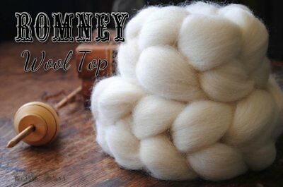 ROMNEY Undyed Natural Ecru White Combed Top Wool Roving Spinning Felting - 4 oz