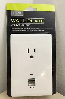 Wall Plate With 2 USB Ports & 1 AC Outlet Wall Plate New