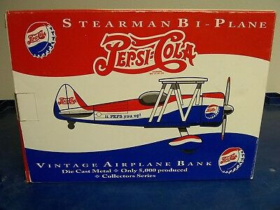 Pepsi Cola Stearman Bi-Plane Metal Airplane Bank NIB