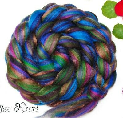 PEACOCK - Wool Roving Custom Signature Blend Merino Bamboo Combed Top 4 oz