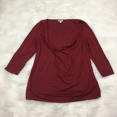 A Pea In The Pod Maternity Womens Top Size L Large Burgundy Red Maroon Shirt