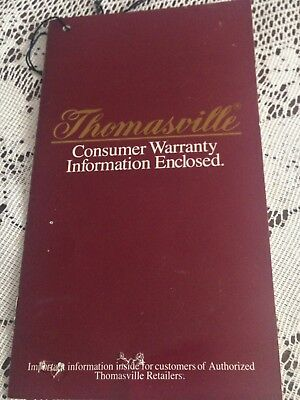 Collectible Thomasville Furniture Warranty And Care Guide From 1984