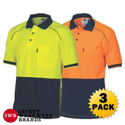 3 x DNC Workwear Mens Hi Vis Cool 2 Tone Front Piping Polo Shirt Safety New 3754
