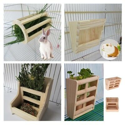 Small Pet Wooden Hay Grass Manger Rack Rabbit Bunny Guinea Pig Cage Feeder Bowl
