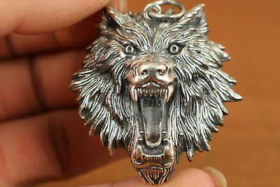 Rare Chinese Old 925 fine silver Hand-Carved Wolf Head Statue pendant netsuke