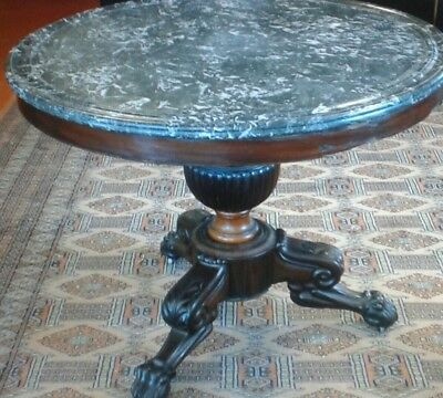 Antique French Center Table / Marble Top / Carved Mahogany