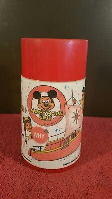 Vintage Mickey Mouse Club Thermo Bottle & Cup Top by Aladdin Very Rare