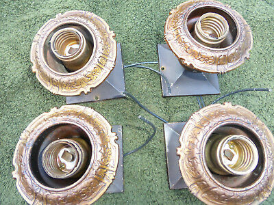 FOUR Vintage Antique Bar Accent Lights Cast Brass Socket Covers  Escutcheons