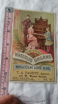 Vintage Advertising Card Retro Early Collectable Waterloo Organs T A Pagett Rare