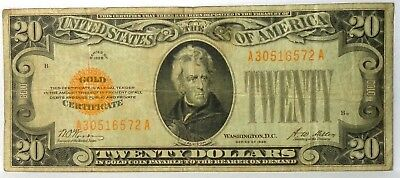 1928 $20 Gold Certificate Yellow Seal,Woods Mellon Circulated Note