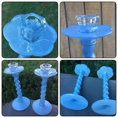 "Antique Pair of Blue Art Glass Candlesticks 9.5"" Old Vintage Germany"