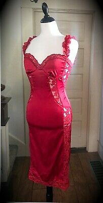 Ya Los Angeles Sexy Red Satin Lace Pinup Vintage Pencil Cocktail Dress Size S