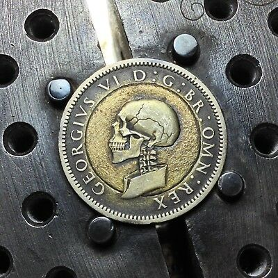 #227 a Silver 1939 UK Sixpence Hobo Skull by JAM RM1528
