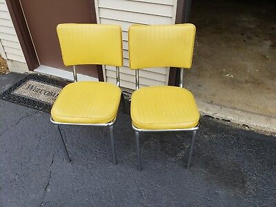Chrome Kitchen Chairs 2 Vintage Vinyl Mid Century Yellow Excellent, Local Pickup
