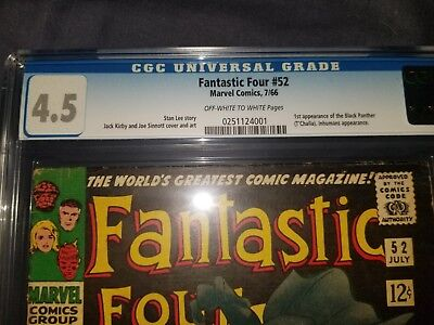 Fantastic Four #52 CGC 4.5 Off White to White Pages 1st app Black Panther