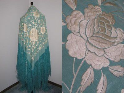 Exceptional XL Piano Shawl Antique 1900-1920s TURQUOISE Silk Hand Embroidery