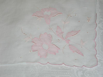 Fine Heavily Embroidered Madeira Swiss LINEN Bridal WEDDING Handkerchief HANKIE