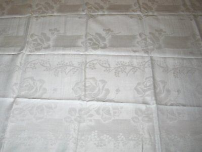Antique Vintage Tablecloth Linen Damask Tablecloth- ROSES-LILY of the VALLEY
