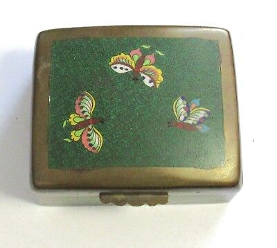 Old Chinese Cloisonne Enamel Green Butterfly  Humidor Jar Box