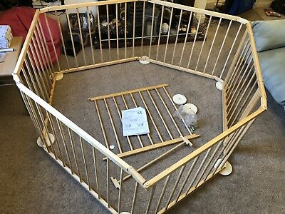 6 -7 Panel wooden playpen with gate children kids babies toddlers COLLECTION SM3