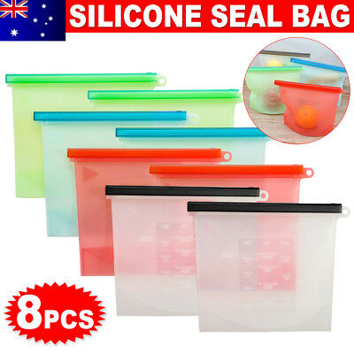 8x Reusable Silicone Seal Food Storage Preservation Bags Airtight Container