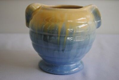 Vintage Newtone Bakewells #546 Ribbed Vase With Handles Yellow Blue Drip Glazed