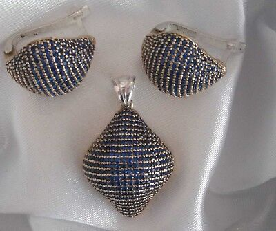 Aaa Quality Sterling 925 Silver Jewelry Micro-Pave Blue Sapphire Earrings Set