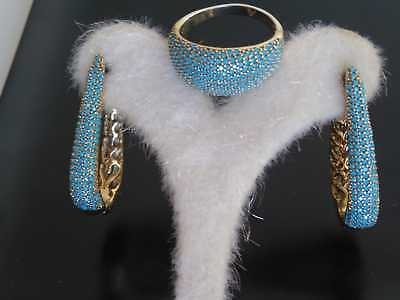 Aaa Quality Sterling 925 Silver Jewelry Pave Blue Turquoise Earrings - Ring Set