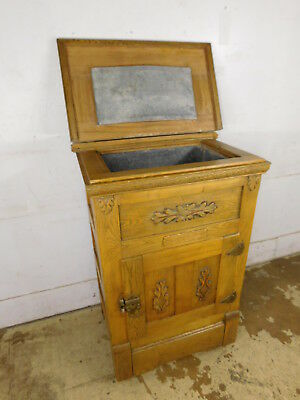 Antique c1920 All Oak Rolling Reliable Refrigerator Ice Box On Wheels Top Loader
