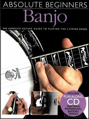 Absolute Beginners Banjo Learn How to Play 5-String TAB Tutor Method Book & CD