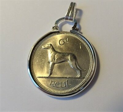 Irish 6d coin pendant in a silver plated mount