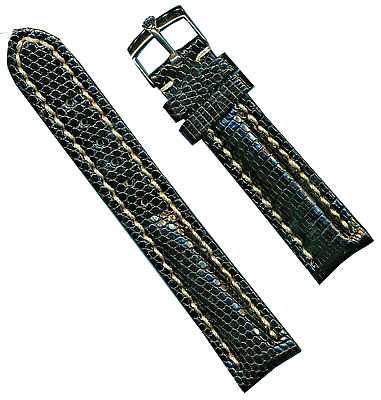 STEEL ROLEX BUCKLE & 20mm BLACK GENUINE LIZARD STRAP BAND LEATHER LINED TANG