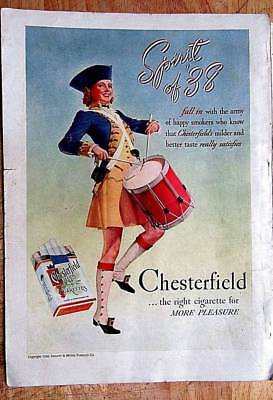 Vintage 1938 Chesterfield  9 x 13 inch Print Ad