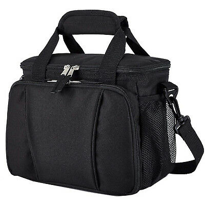 Insulated Lunch Cooler Bag Travel Men Women Adult Lunch Box Bag Tote 9 Can Black