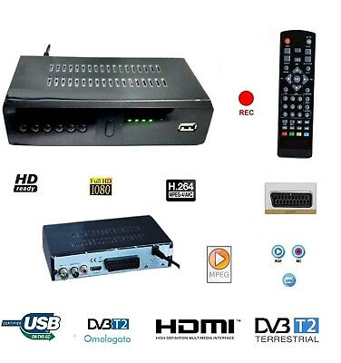 Decoder Digitale Terrestre Dvb-T2 Ricevitore Full Hd Scart Usb E Hdmi Jpeg Mpeg4