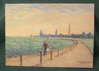 "Dusan Ciran Oil Painting on Canvas Board 5 1/2"" x 7"" - Chicago Scene"