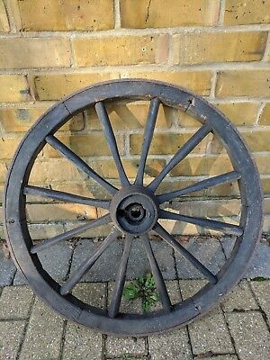 Vintage old wooden cart wagon wheel approx 60cm