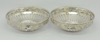 Beautiful Pair Of Antique Solid Silver Bonbon Trinket Dishes Hm 1918 Great Gift!