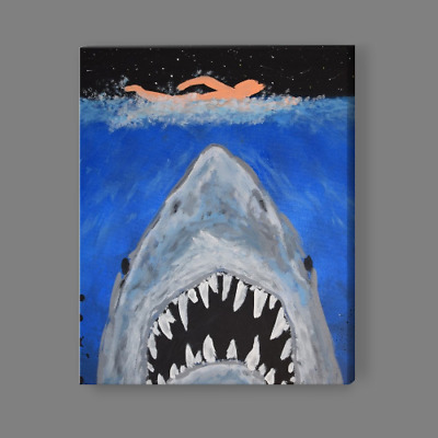 JAWS Painting Canvas or Photo Print Ocean Shark Fish Abstract Art Film & Movie