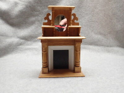 Dollhouse Miniature Fireplace W/Mirror, FP1_NOS