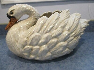 Beautiful Large White Ceramic Swan Planter 18 Long 79 99 Picclick