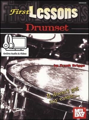First Lessons Drumset Sheet Music Book with Audio and Video Learn to Play Method