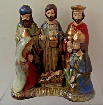 Porcelain Nativity Religious Scene Six Figures Christmas Decoration